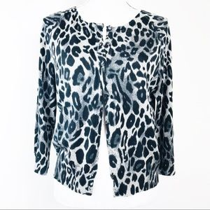 Ann Taylor Cheeta Silk Blend Button Cardigan L